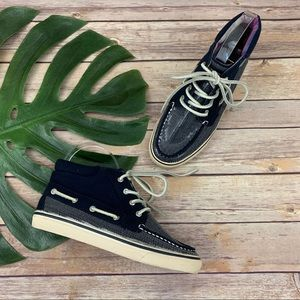 Sperry Betty navy blue sequin high top sneakers